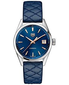 Women's Swiss Carrera Blue Leather Strap Watch 36mm