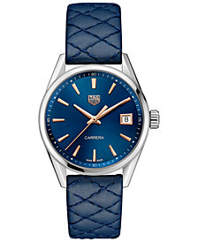 TAG Heuer Women's Swiss Carrera Blue Leather Strap Watch 36mm