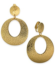 Charter Club Hammered Teardrop Clip-On Earrings, Created for Macy's