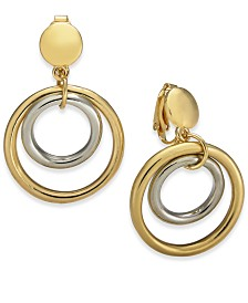 Charter Club Two-Tone Circle Drop Clip-On Earrings, Created for Macy's