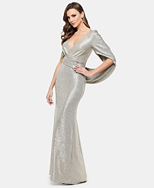 Betsy & Adam Metallic Surplice Cape Gown
