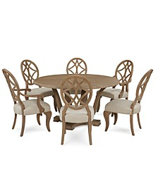 Trisha Yearwood Jasper County Stately Brown Round Dining 7-Pc. Set (Table, 4 Side Chairs & 2 Arm Chairs)