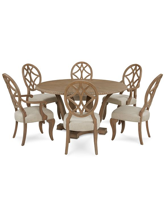 Furniture Trisha Yearwood Jasper County Stately Brown Round Dining Furniture, 7-Pc. Set (Table, 4 Side Chairs & 2 Arm Chairs)