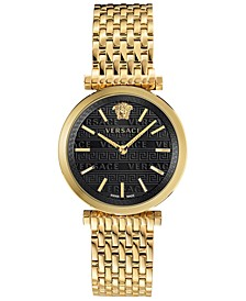 Women's Swiss V-Twist Gold-Tone Stainless Steel Bracelet Watch 36mm