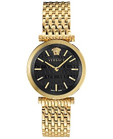 Versace Women's Swiss V-Twist Gold-Tone Stainless Steel Bracelet Watch 36mm