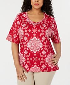 Karen Scott Plus Size Bandana Lace Printed Top, Created for Macy's