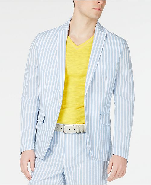 INC International Concepts I.N.C. Men's Bold Seersucker Slim-Fit Blazer, Created for Macy's