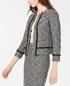 Anne Klein Tweed Fringe Jacket