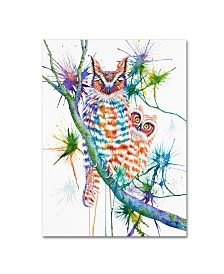 """Michelle Faber 'Momma And Baby Owl' Canvas Art - 24"""" x 18"""" x 2"""""""