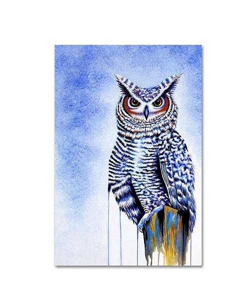 "Trademark Global Michelle Faber 'Great Horned Owl In Blue' Canvas Art - 24"" x 16"" x 2"""