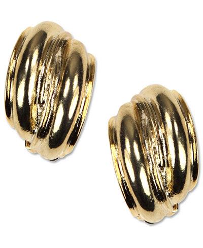 Anne Klein Earrings, Gold-Tone Button Clip On Earrings