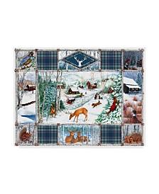 """Sher Sester 'Birch Frame Winter Art Blue Plaid' Canvas Art - 24"""" x 18"""" x 2"""""""