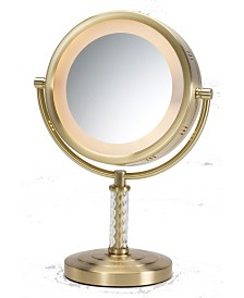 "The Jerdon HL856BC 8"" Tabletop Two-Sided Swivel Halo Lighted Vanity Mirror"