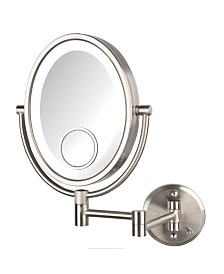 """The Jerdon HL9515NLD 8"""" x 10"""" Dual Sided 10X Magnified LED Wall Mount Direct Wire Mirror"""