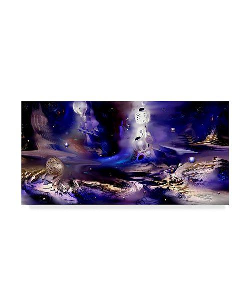 "Trademark Global RUNA 'Planet Blue 32' Canvas Art - 32"" x 16"" x 2"""