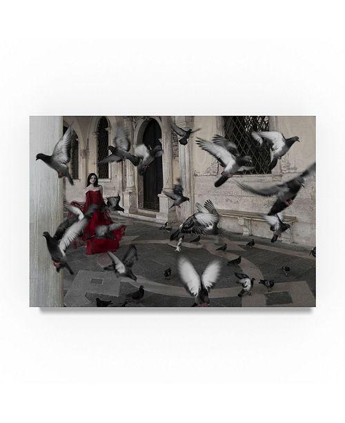 "Trademark Global Moises Levy 'La Mujer De Las Palomas' Canvas Art - 19"" x 12"" x 2"""