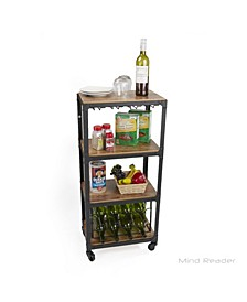 4 Tier Wood and Metal Cart with Wine Rack