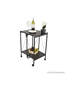 Mind Reader Fold-able 2-Tier All Purpose Metal Mobile Utility Cart