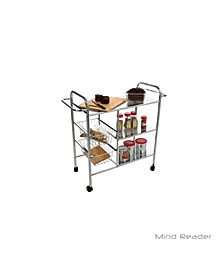 3-Tier Kitchen All Purpose Utility Cart with 2 Shelves, Baskets for Extra Storage, Handles for Hanging Towels