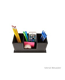 Faux Leather 4 Compartment Desk Organizer