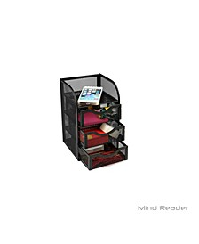 Mini Desk Supplies Office Supplies Organizer, 3 Drawers, 1 Top Shelf