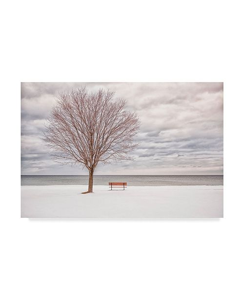 """Trademark Global William Shi 'Waiting Red Bench' Canvas Art - 47"""" x 2"""" x 30"""""""