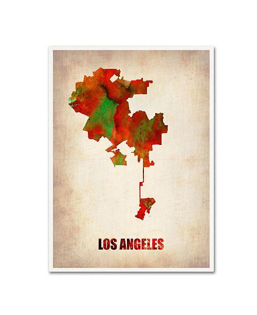 "Trademark Global Naxart 'Los Angeles Watercolor Map' Canvas Art - 18"" x 24"" x 2"""