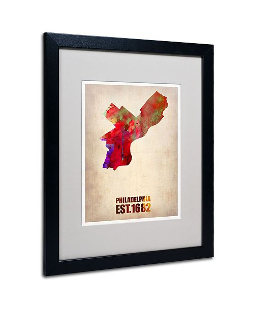 "Trademark Global Naxart 'Philadelphia Watercolor Map' Matted Framed Art - 20"" x 16"" x 0.5"""