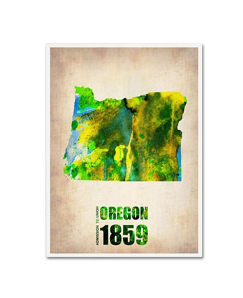 "Trademark Global Naxart 'Oregon Watercolor Map' Canvas Art - 18"" x 24"" x 2"""