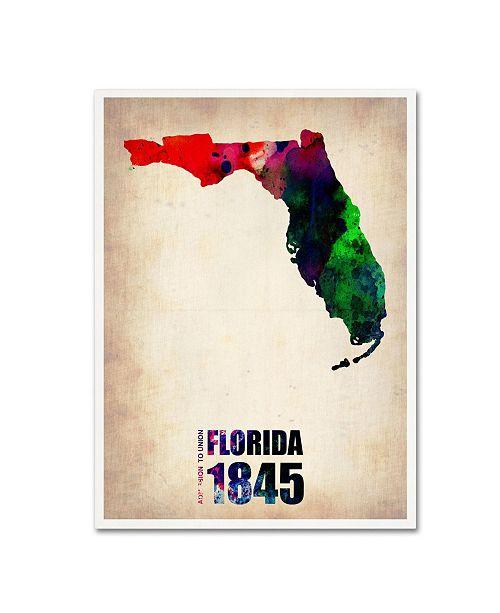 "Trademark Global Naxart 'Florida Watercolor Map' Canvas Art - 18"" x 24"" x 2"""