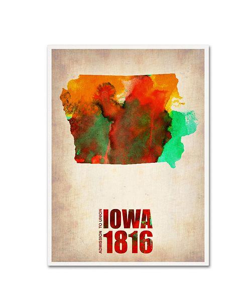 "Trademark Global Naxart 'Iowa Watercolor Map' Canvas Art - 18"" x 24"" x 2"""