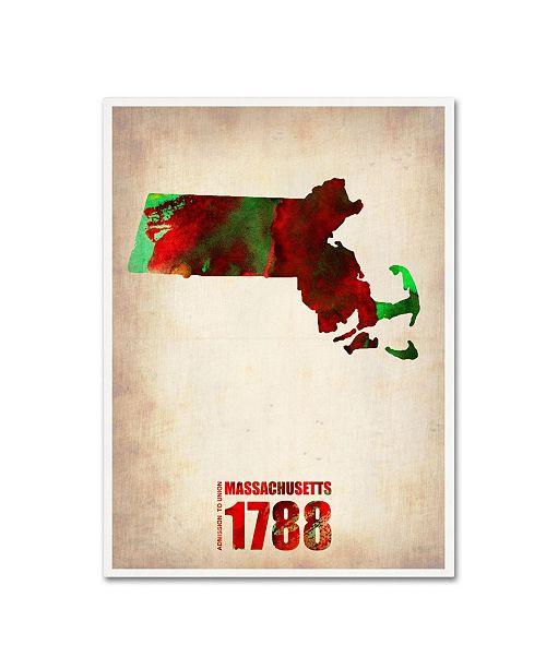 "Trademark Global Naxart 'Massachusetts Watercolor Map' Canvas Art - 18"" x 24"" x 2"""