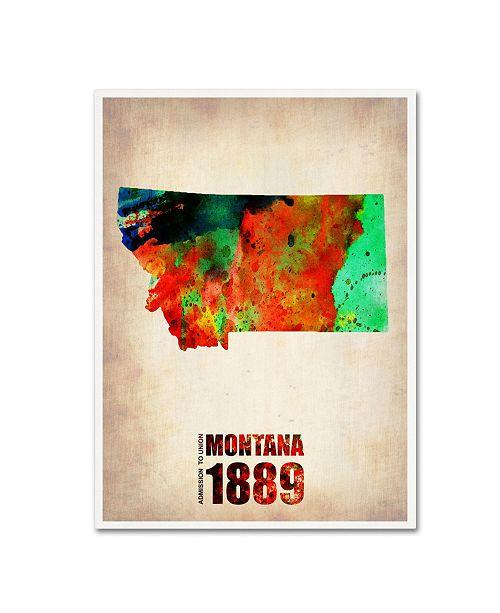 "Trademark Global Naxart 'Montana Watercolor Map' Canvas Art - 18"" x 24"" x 2"""