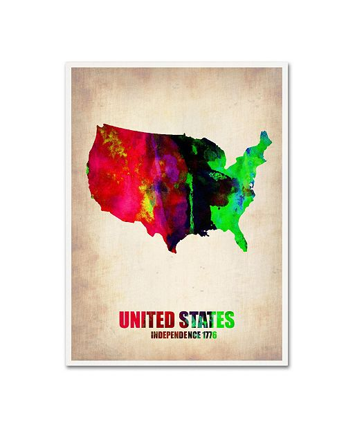 "Trademark Global Naxart 'United States Watercolor Map' Canvas Art - 18"" x 24"" x 2"""