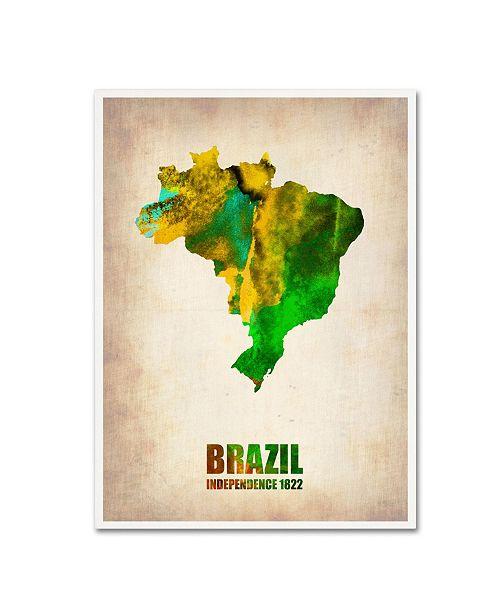 "Trademark Global Naxart 'Brazil Watercolor Map' Canvas Art - 18"" x 24"" x 2"""