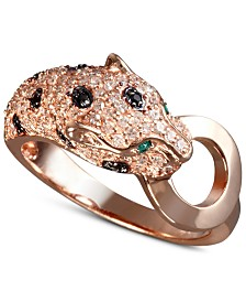 EFFY® Signature White and Black Diamond (5/8 ct. t.w.) and Emerald Accent Panther Ring in 14k Rose Gold