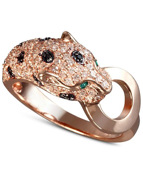 EFFY Collection EFFY® Signature White and Black Diamond (5/8 ct. t.w.) and Emerald Accent Panther Ring in 14k Rose Gold