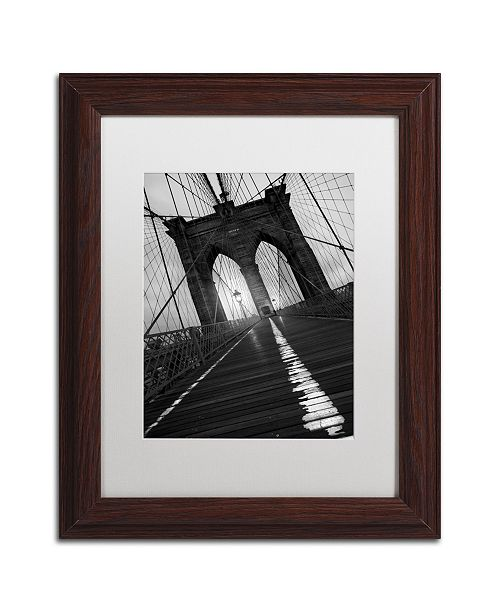 "Trademark Global Moises Levy 'Brooklyn Bridge Study I' Matted Framed Art - 14"" x 11"" x 0.5"""