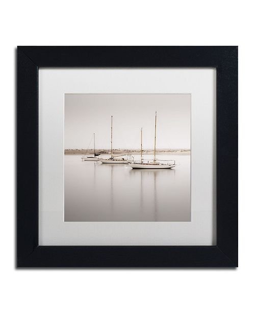 "Trademark Global Moises Levy 'Three Boats' Matted Framed Art - 11"" x 11"" x 0.5"""