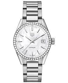 TAG Heuer Women's Swiss Carrera Diamond (4/5 ct. t.w.) Stainless Steel Bracelet Watch 36mm