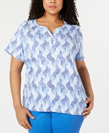 Karen Scott Plus Size Joyful Waves Henley Top, Created for Macy's