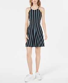 Bar III Striped Halter Fit & Flare Dress, Created for Macy's