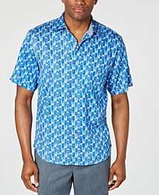 Men's Piccolo Palms Tile-Print Camp Shirt