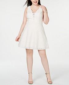 Trendy Plus Size Glitter Lace Fit & Flare Dress