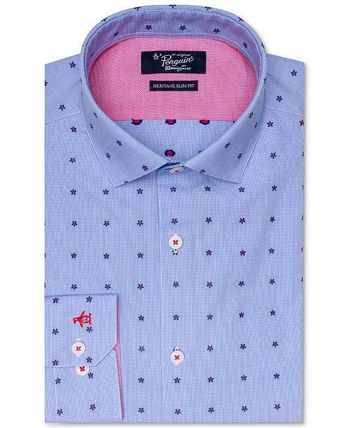 Original Penguin Slim Fit Comfort Stretch Novelty Print Dress Shirt