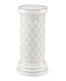 Global Tapestry Pillar Candle Holder White