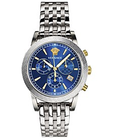 Women's Swiss Chronograph Sport Tech Stainless Steel Bracelet Watch 40mm
