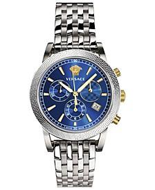 Women's Swiss Chronograph Sport Tech Stainless Steel Bracelet Watch 40mm