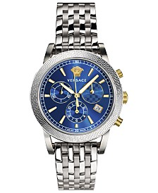 Versace Women's Swiss Chronograph Sport Tech Stainless Steel Bracelet Watch 40mm