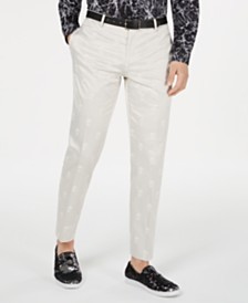 I.N.C. Men's Skull Jacquard Slim-Fit Pants, Created for Macy's